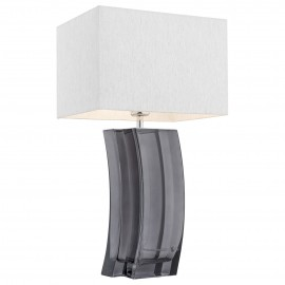 Lampa na stolik, lampka nocna MARSALA srebrny abażur, grafitowe szkło ARGON