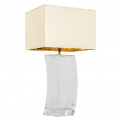 Lampa na stolik, lampka nocna MARSALA złoty abażur, przezroczyste  szkło ARGON