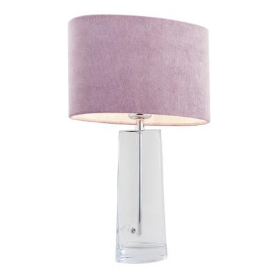 Lampa na stolik, lampka nocna PRATO różowy abażur, szkło przezroczyste ARGON