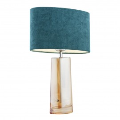 Lampa na stolik, lampka nocna PRATO turkusowy abażur, szkło lister miodowy ARGON