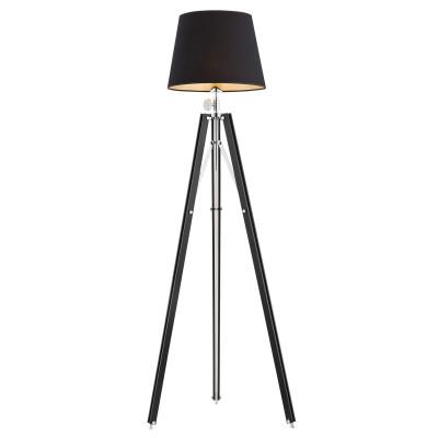 Lampa podłogowa, lampa stojąca ASTER czarny abażur, czarna podstawa ARGON