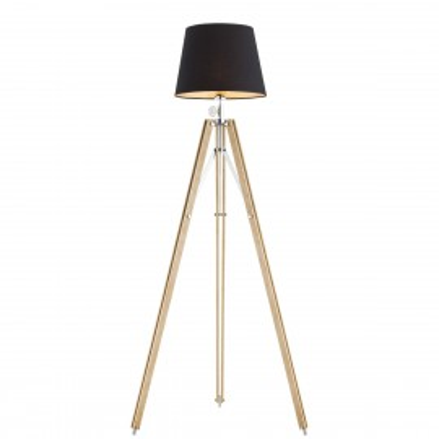 Lampa podłogowa, lampa stojąca ASTER czarny abażur, drewniana podstawa ARGON