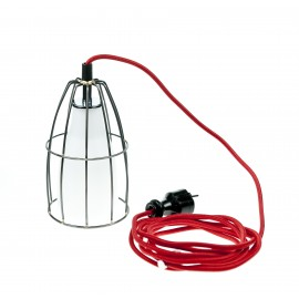 Frame luminaire with plug wall lamp steel / white / red