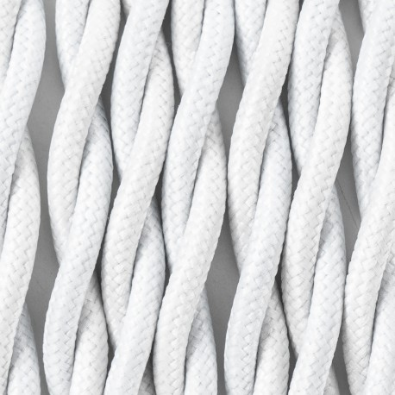 Kabel skręcany w oplocie poliestrowym 16 biały bez dwużyłowy 2x0.75 Kolorowe Kable