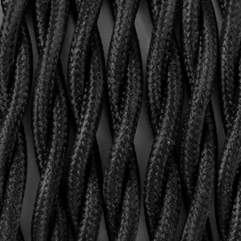 Kabel skręcany w oplocie poliestrowym 15 czarny tulipan dwużyłowy 2x0.75 Kolorowe Kable
