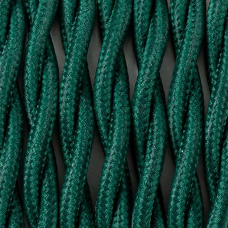 Ciemnozielony kabel skręcany w oplocie poliestrowym T06 sosnowy las dwużyłowy 2x1x0.75 Kolorowe Kable