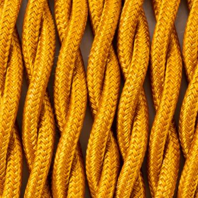 Kabel skręcany w oplocie poliestrowym 32 peruwiańskie złoto 2x1x0.75 Kolorowe Kable