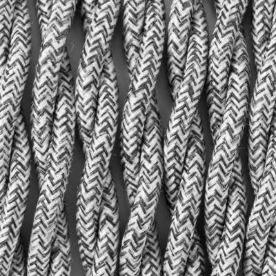 Kabel skręcany w oplocie poliestrowym P02 srebrzysty melanż dwużyłowy 2x1x0.75 Kolorowe Kable