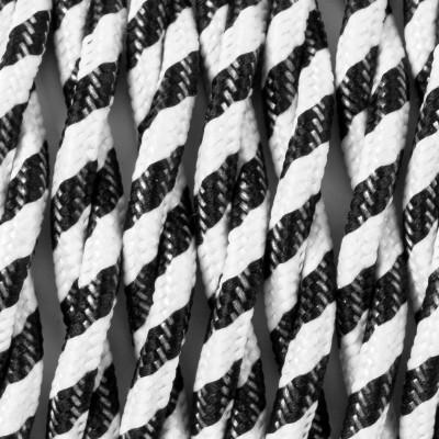 Kabel skręcany w oplocie poliestrowym 34 serpentyna wąska czarno-biała dwużyłowy 2x1x0.75 Kolorowe Kable
