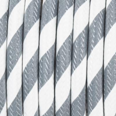 Kabel w oplocie poliestrowym 37 serpentyna szeroka szaro-biała dwużyłowy 2x0.75 Kolorowe Kable