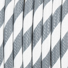 Round electric cable covered by polyester 37 wide streamer grey and white 2x0.75