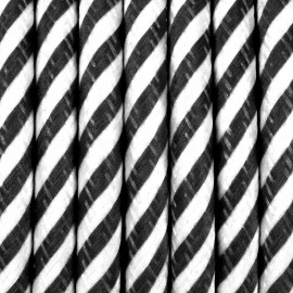 Round electric cable covered by polyester 34 narrow streamer black and white 2x0.75