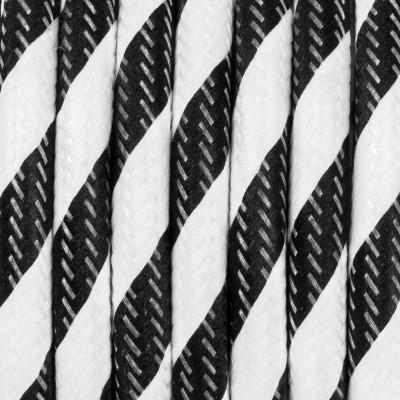 Kabel w oplocie poliestrowym 35 serpentyna szeroka czarno-biała dwużyłowy 2x0.75 Kolorowe Kable