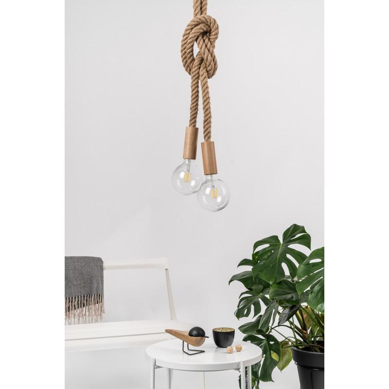 Loft Multi Eco Line B X2 podwójna lampa wisząca z liną konopną KOLOROWE KABLE