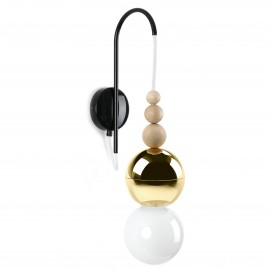 Loft Bala gold wall lamp with a black handle