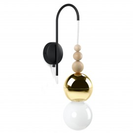 Loft Bala gold wall lamp with a black structural handle