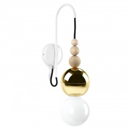 Loft Bala gold wall lamp with a white handle