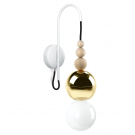 Loft Bala gold wall lamp with a white structural handle