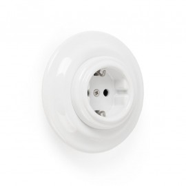Rustic ceramic flush-mounted socket in retro style - white Kolorowe Kable