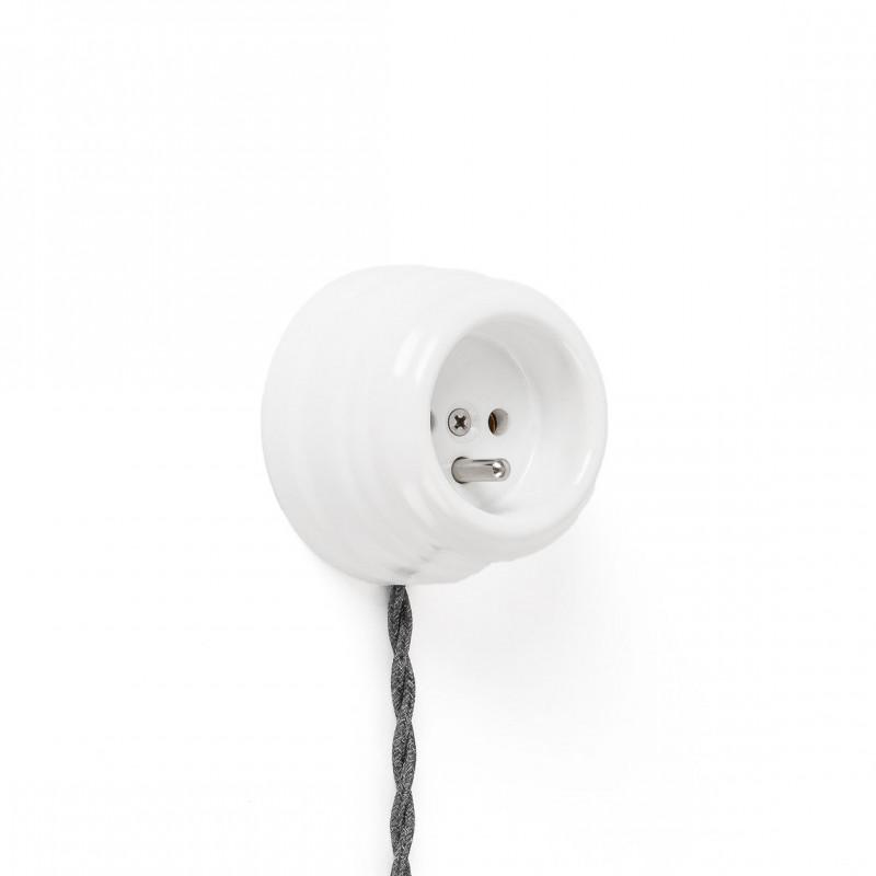 Rustic ceramic French surface mounted retro socket - white Kolorowe Kable
