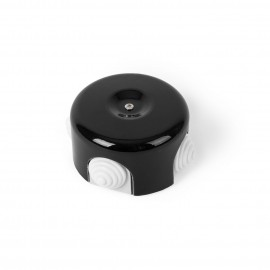 Rustic ceramic junction box surface mounted in a retro style - black Kolorowe Kable