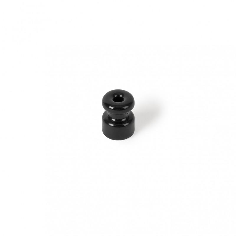 Rustic ceramic wall cable holder - black Kolorowe Kable
