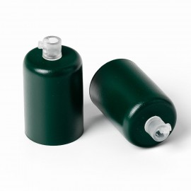 Metal lamp holder E27 lacquered in dark green structural