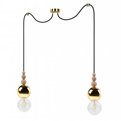 Loft Bala 2 złota lampa wisząca KOLOROWE KABLE