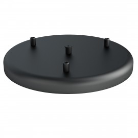 Large metal ceiling cup fi30cm lacquered in black structural - three cables