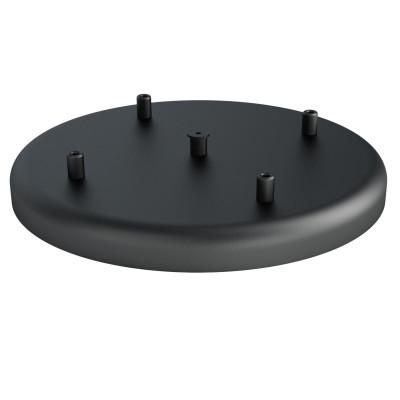 Duża metalowa osłonka sufitowa fi30cm lakierowana w kolorze czarnym strukturalnym - na cztery przewody Kolorowe Kable