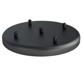Large metal ceiling cup fi30cm lacquered in black structural - four cables