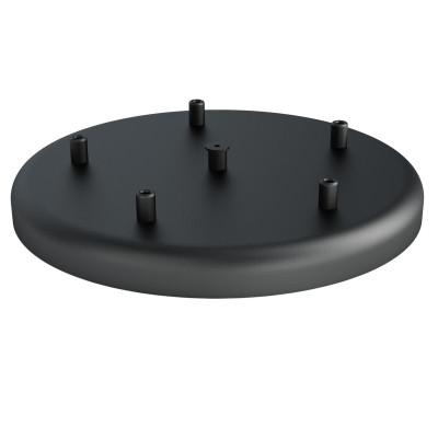 Duża metalowa osłonka sufitowa fi30cm lakierowana w kolorze czarnym strukturalnym - na pięć przewodów Kolorowe Kable