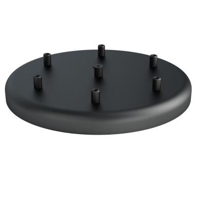 Duża metalowa osłonka sufitowa fi30cm lakierowana w kolorze czarnym strukturalnym - na sześć przewodów Kolorowe Kable