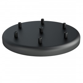 Large metal ceiling cup fi30cm lacquered in black structural - six cables