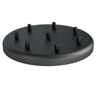Duża metalowa osłonka sufitowa fi30cm lakierowana w kolorze czarnym strukturalnym - na siedem przewodów Kolorowe Kable