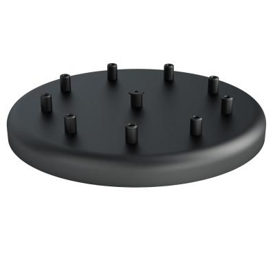 Duża metalowa osłonka sufitowa fi30cm lakierowana w kolorze czarnym strukturalnym - na dziewięć przewodów Kolorowe Kable