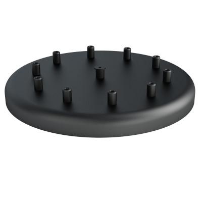 Duża metalowa osłonka sufitowa fi30cm lakierowana w kolorze czarnym strukturalnym - na dziesięć przewodów Kolorowe Kable