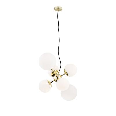 Hanging ceiling lamp white shades, brass details SATELITE 2532 ARGON