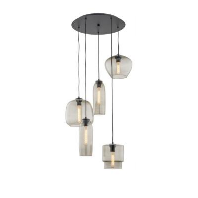 Hanging ceiling lamp five glass shades on the round headliner SERAFINO 2080 ARGON