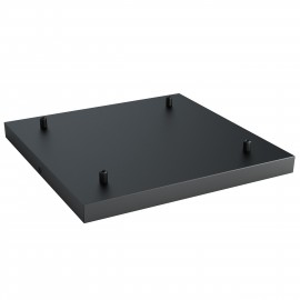 Square metal ceiling cover 40x40cm painted in black structural - for four cables