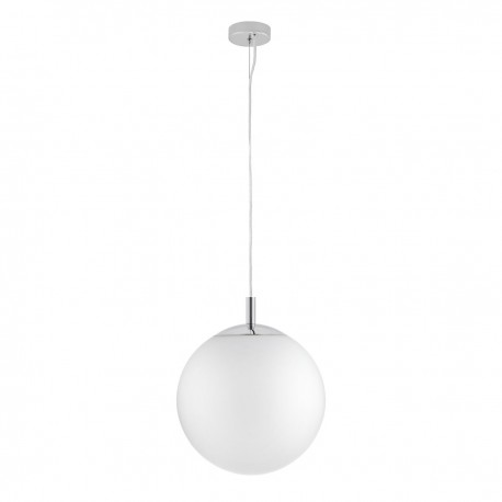 ALUR L ceiling hanging lamp, white lampshade chrome details KASPA