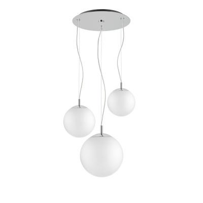 Sufitowa lampa wisząca, plafon ALUR 3 - 3 białe klosze detale chrom KASPA