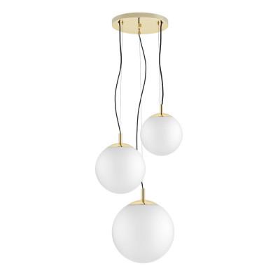 Sufitowa lampa wisząca, plafon ALUR 2 - 3 klosze kule białe detale złote KASPA