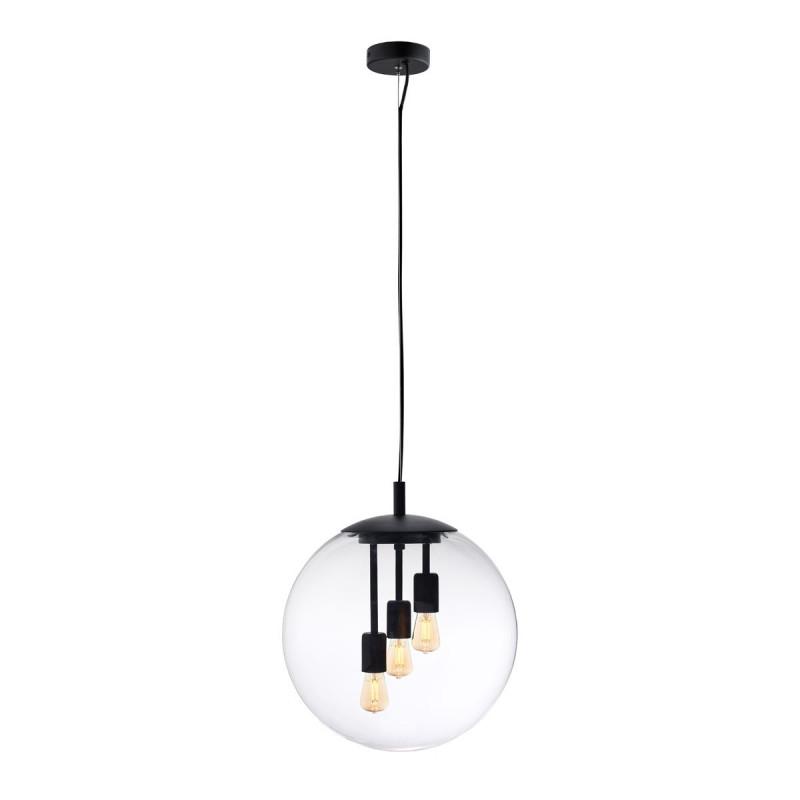 ALUR L ceiling hanging lamp, transparent lampshade black details KASPA