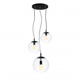 Ceiling hanging lamp, ceiling ALUR 2 - 3 transparent lampshades details black KASPA