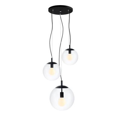 Sufitowa lampa wisząca, plafon ALUR 2 - 3 klosze kule przezroczyste detale czarne KASPA