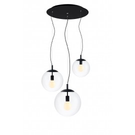 Ceiling hanging lamp, ceiling ALUR 3 - 3 transparent lampshades details black  KASPA