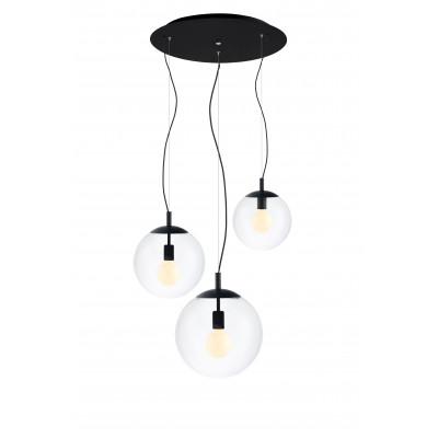 Sufitowa lampa wisząca, plafon ALUR 3 - 3 klosze kule przezroczyste detale czarne KASPA