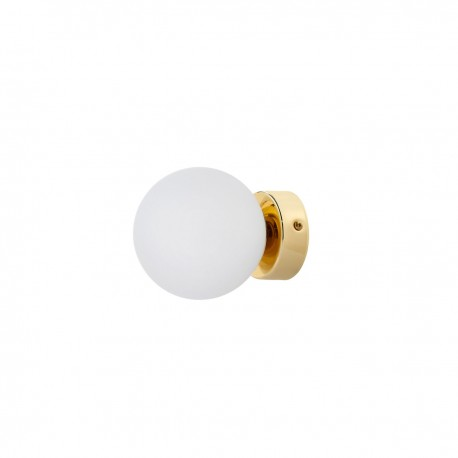 Wall lamp, plafond ASTRA KINKIET lampshade white sphere gold details KASPA