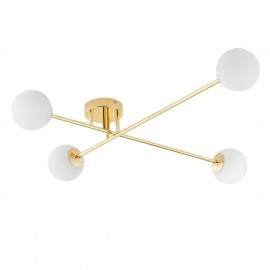 Ceiling lamp ASTRA 4 lampshades white balls gold frame KASPA